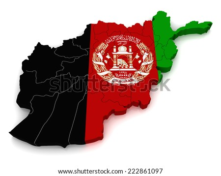 3D map of Afghanistan - stock photo