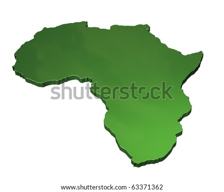 3d map of Africa on white background - stock photo