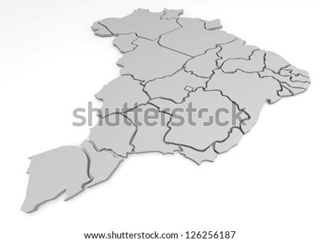 3d map of Brazil, with the separate states, infographic - stock photo