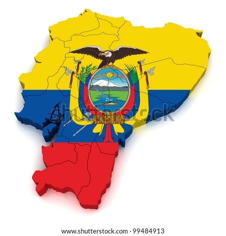 3D Map of Ecuador - stock photo