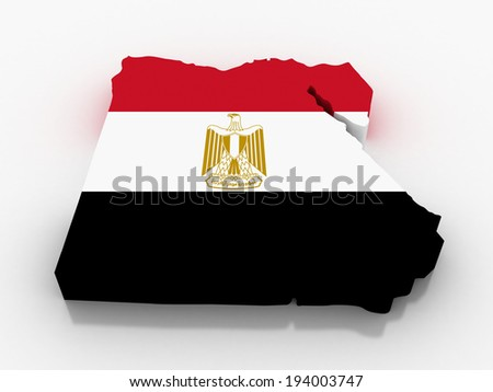 3D map of Egypt with flag - stock photo