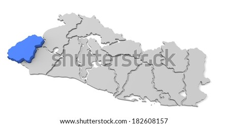 3d map of el salvador, with the separate departments, especially in ahuachapan, states, infographic  - stock photo