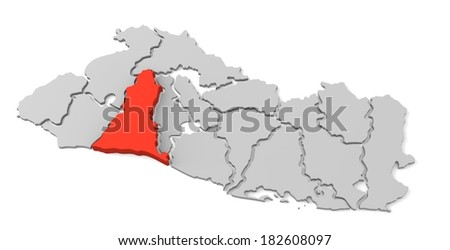 3d map of el salvador, with the separate departments, especially in la libertad, states, infographic  - stock photo