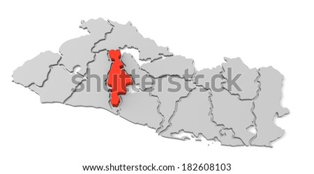 3d map of el salvador, with the separate departments, especially in san salvador, states, infographic  - stock photo