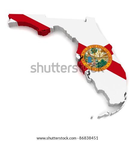 3D Map of Florida - stock photo