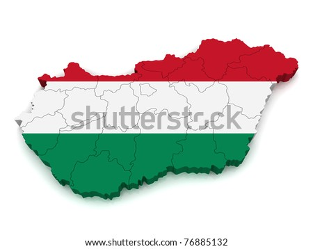 3D Map of Hungary - stock photo