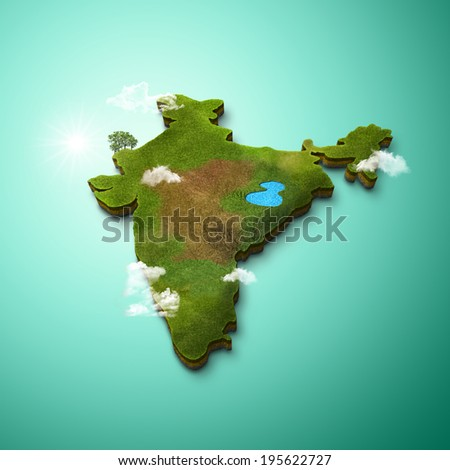 3D Map of India - stock photo