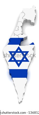 3D Map of Isreal - stock photo