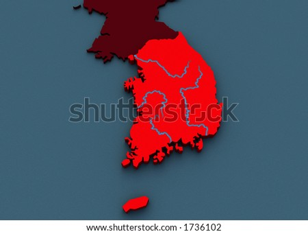3D Map of Korea - stock photo