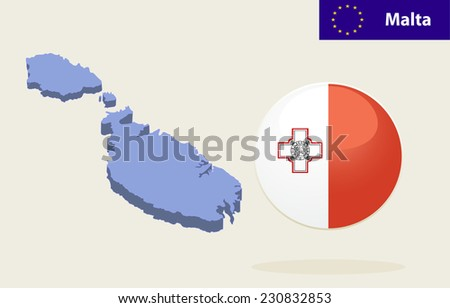 3D Map of Malta.  Malta Flag Glossy Button - stock photo