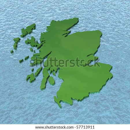 3D map of Scotland on the sea - stock photo