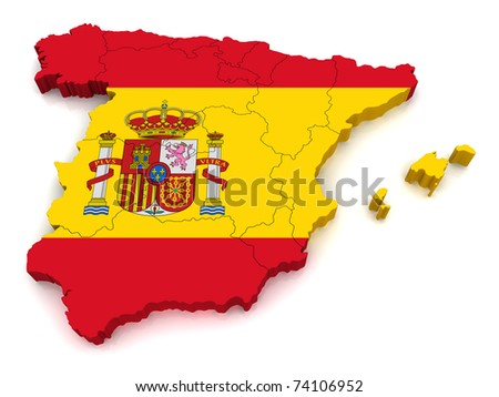 3D Map of Spain - stock photo