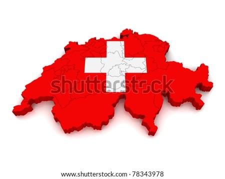 3D Map of Switzerland - stock photo