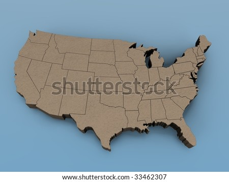 3D map of the USA on a blue background - stock photo