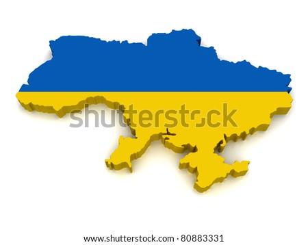3D Map of Ukraine - stock photo