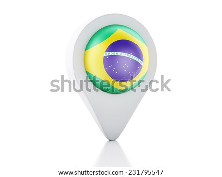 3d Map pointer brazil flag icon on white background - stock photo