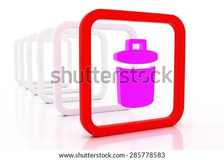 3D mark dustbin - stock photo