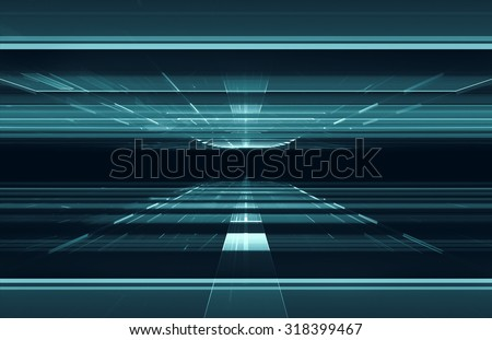 3D matrix like tunnel - stock photo