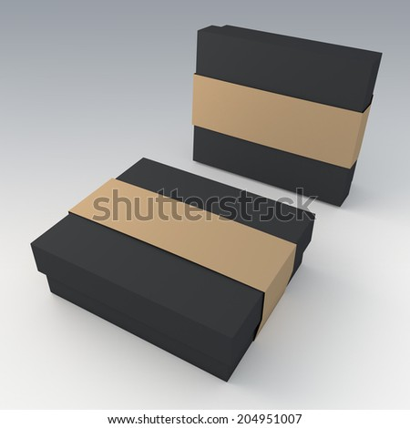 3D matte black garment or leather products packaging and brown jacket label ring in isolated with work paths, clipping paths included - stock photo