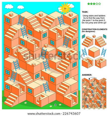 3d maze game: Using stairs and ladders try to find the way from the point 1 to the point 2. Do not jump and climb up! Answer included. Plus construction elements for designers. - stock photo