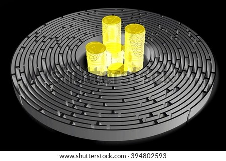 3D maze/ labyrinth concept - golden coins. - stock photo