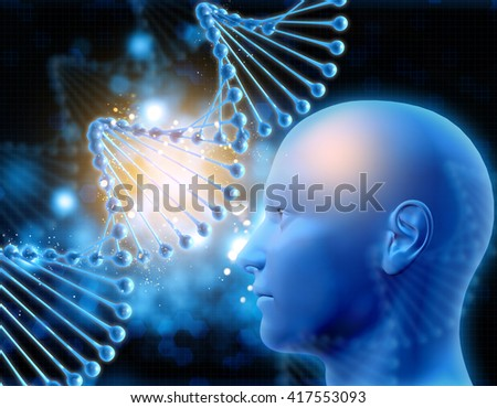 3D medical background with DNA strands and male head - stock photo