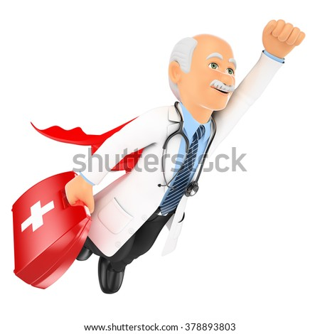 3d medical people. Super doctor flying with first aid kit. Isolated white background. - stock photo