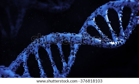 3d medical render, infected dna helix concept - stock photo