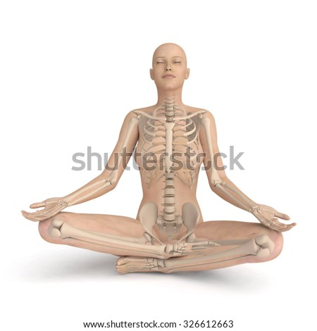 3D meditating woman - xray skeleton version, isolated on white background - stock photo