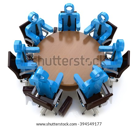 3d meeting business people - session behind a round table in the design of the information related to a business meeting - stock photo