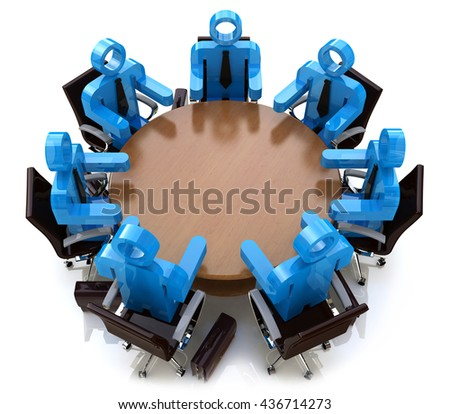 3d meeting business people - session behind a round table in the design of the information related to a business meeting. 3d illustration - stock photo