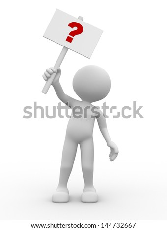 3d men and question mark - stock photo