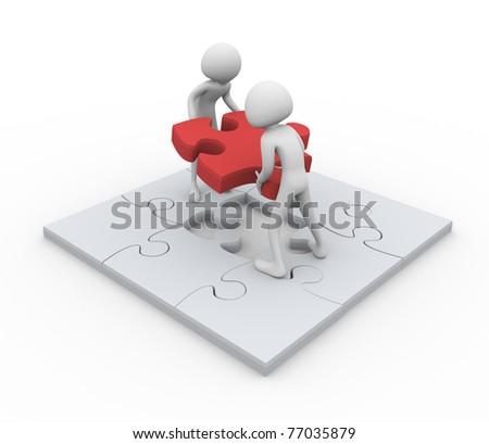 3D men assembling puzzle - Concept of team work - stock photo