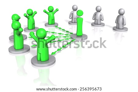 3d men getting access to information on white background - stock photo