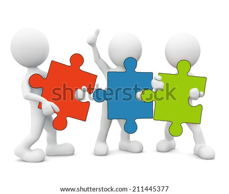 3D men holding jigsaw. - stock photo
