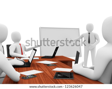 3d Men on a Business Presentation - stock photo