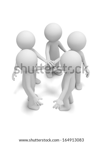 3d men, people together with joining hands - stock photo