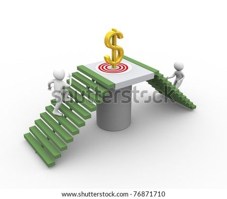 3d men running for getting golden dollar. Concept of competition and goal  achieving - stock photo