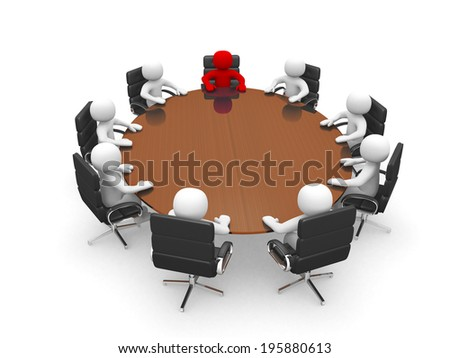 3D men sitting at a round table and having business meeting - 3d render  - stock photo