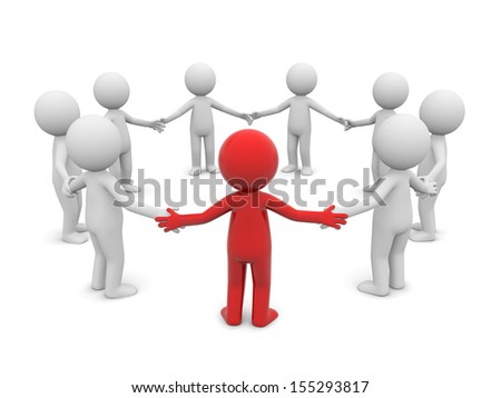 3d men standing in a circle hand in hand - stock photo