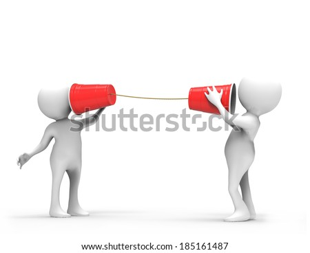 3D Men with Plastic Cup Telephone  - stock photo
