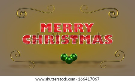 3D Merry Christmas Text With Golden Ornaments and Green Christmas Balls. Warm look in a nice centered composition. - stock photo