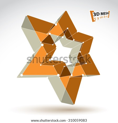 3d mesh gold star sign isolated on white background, colorful elegant lattice superstar icon, tech pentagonal object, bright illustration, star icon with white connected lines. - stock photo