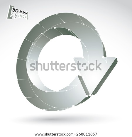 3d mesh update sign isolated on white background, lattice black and white renew icon, monochrome dimensional tech refresh symbol with white connected lines - stock photo