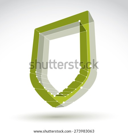 3d mesh web green security icon isolated on white background, colorful lattice ecology shield symbol, dimensional tech protection object - stock photo