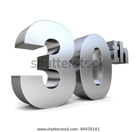 3d metal anniversary number - 30th - stock photo
