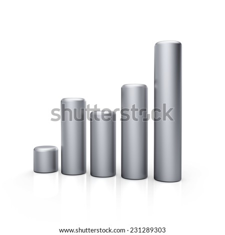 3d metal bar graph diagrams. Business growth. Silver bars. - stock photo