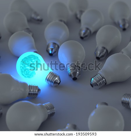 3d metal brain and growing light bulb standing out from the unlit incandescent bulbs as leadership concept  - stock photo