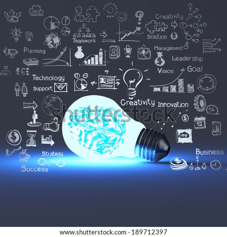 3d metal brain inside light bulb and drawing business strategy as concept  - stock photo