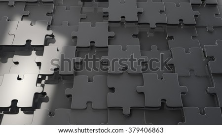 3d metal chrome jigsaw puzzle background - stock photo